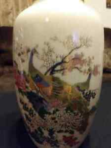 Beautiful Peacock Satsuma Vase With Gold Made In Japan Rare Unique