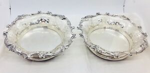 Howard Co Antique Pair Sterling Silver Wine Bottle Coasters