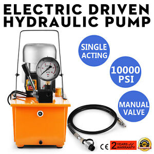 Electric Driven Hydraulic Pump Single Acting Remote Controlled 110v 10000psi New