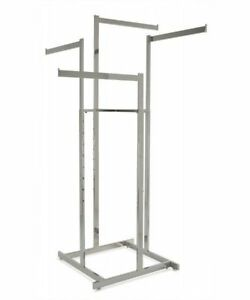4 Way High Capacity Clothing Rack With 4 Straight 22 l Arms Chrome
