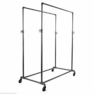 Pip Double Rail Rolling Clothing Display Rack Adj Height Grey
