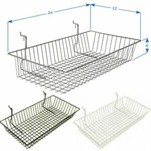 Pack Of 6 24 l X 12 w X 4 h Slatwall Baskets Black White Or Chrome