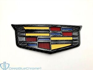 Cadillac Ats V Xts Black Carbon Fiber Trunk Lid Emblem Genuine Gm Oem Badge Logo