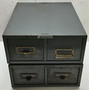 2 Vintage 2 Drawer Steelmaster Metal Industrial File Library Storage Cabinet