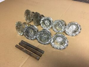 Lot Of 9 Vintage Antique Glass Door Knobs Knob Reclaimed Crystal Retro