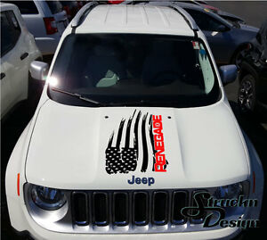 2 Color Hood Jeep Renegade Distressed American Flag Logo Suv Graphic Vinyl Decal