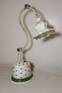 Antique Tufted Porcelain Brass Adjustable Whimsy Electric Desk Piano Lamp