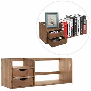 Natural Brown Wood Desk Organizer With Two Drawers Bookshelf Display Rack
