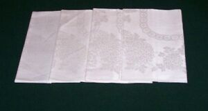 4 Fabulous Vintage Double Damask Linen Napkins Lapkins Never Used W Tag C1950