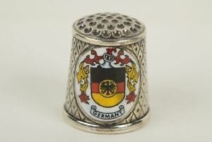 Vintage Sterling Silver And Enamel Germany Koln Dom Cologne Cathedral Thimble