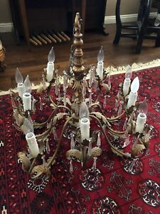 Antique French Italian Brass Chandelier Faceted Crystal Prisms
