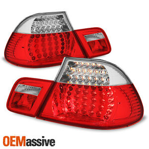 For 2003 06 Bmw E46 325ci 330ci M3 Coupe Model Red Clear Led Tail Brake Lights