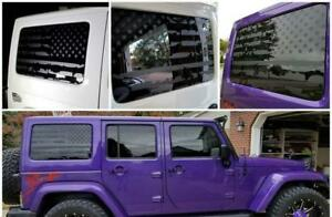 Distressed Matte Black American Flag Decals For Your Jeep Wrangler Jk Jku