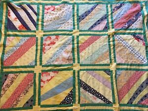 Antique Quilt Top Hand Machine Stitched Diagonal In Squares 91 X 64