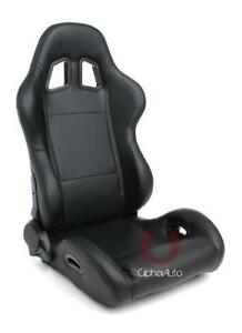 Cipher Auto Black Leatherette Universal Racing Seats W seatbelt Bezels Pair New