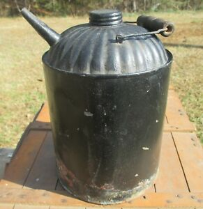 Antique Galvanized Tin Gas Oil Kerosene Can W Spout Screw Cap Lamp Oiler