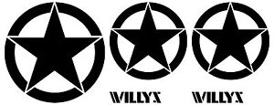 5 Willy Lot Star Text Vinyl Decal Hood Door Jeep Sticker Car Vehicle Wrangler