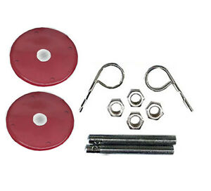 Red Aluminum Hood Pin Set Chrome Hardware For Chevy Ford Mopar Drag Racing Race