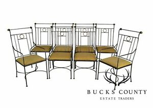 Charleston Forge Directoire Style Set 8 Steel Brass Dining Chairs
