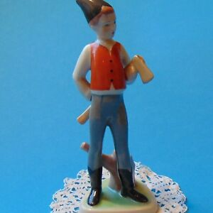 Vintage Porcelain Hungarian Drasche The Little Woodcutter Handpainted Marked