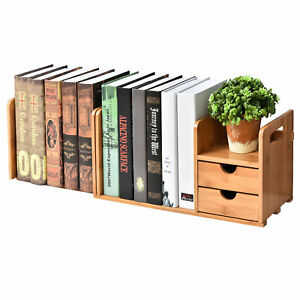 2 drawer Natural Bamboo Wood Desk Organizer W Expandable Bookshelf