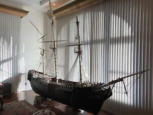 Massive Nautical Antique Carved Wooden Model Boat Ship