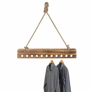 Mygift 46 inch Burnt Wood Ceiling hanging Garment Rack With Thick Ropes