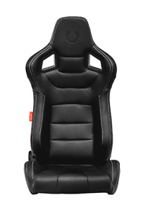 Cipher Auto Black Leatherette W white Stitching Premium Euro Racing Seats Pair
