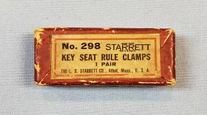 Vintage Starrett No 298 Key Seat Rule Clamps Old Quality