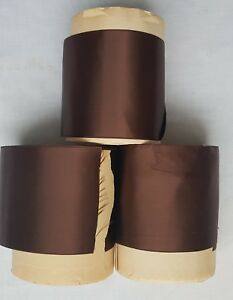 A Lot Of 3 Roles Of Vintage Brown Sateen Ribbon Wide 4 Wide French