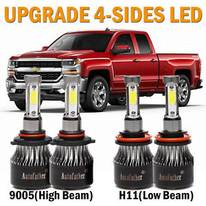 Combo 9005 H11 Led Headlight Kit For Chevy Silverado 1500 2008 2009 Hi Lo Beam