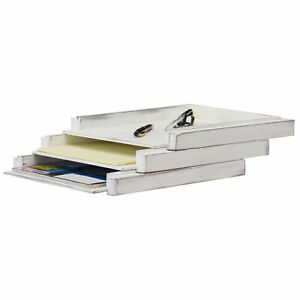 Mygift Vintage White Wood Stacking Document Paper Trays Set Of 3