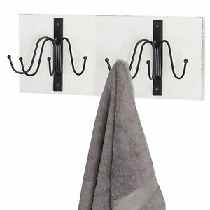 Wall Mounted Vintage White Wood Coat Hat Rack With 8 Metal Hooks Mygift