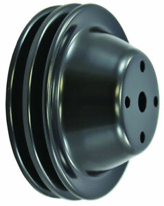 Sb Chevy Sbc Black 2 Groove Long Pump Water Pump Pulley 305 327 350 383 Lwp New