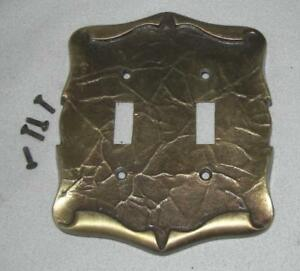 Vintage Amerock Carriage House Antique Brass Double Switch Outlet