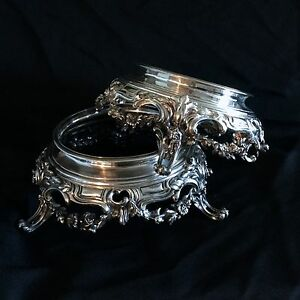 Antique Pair French Sterling Silver Stands Magnificent Quality Marked