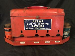 Atlas Tire Vulcanizing Gas Auto Service Station Car Antique Advertising Tin Sign