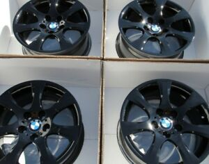 17 Bmw 3 Series 330 325 Wheels New Rims Gloss Black Powder Coated Oem Set Caps