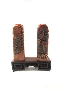 Chinese Shoushan Stone Hand Carved Pavilion Mountain Seal Set Pair W Stand
