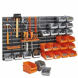 44 Piece Wall Mounted Pegboard Hook Tool Storage Bins Panel Set Garage Organizer