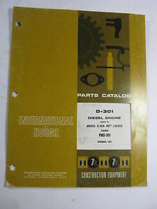 International Hough D 301 Diesel Engine H 60b Pay Loader Parts Catalog Manual