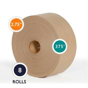2 75 X 375 Reinforced Gummed Kraft Paper Tape Water Activated Tape 8 Rolls