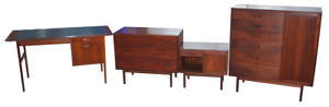 Jack Cartwright Walnut 1960s Teak Dresser Danish Chest Night Stand Desk Set