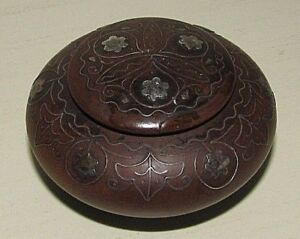 Antique Wooden Snuff Trinket Pill Box W Lid Detailed Decorative Metal Inlay