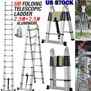 16 5ft Collapsible Telescopic Loft Roof Step Ladder Extension Foldable Aluminum