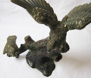 Vintage Japanese Cast Iron Parent Child Hawk Metal Bird Sculpture