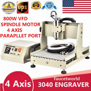 800w Vfd 4 Axis Router 3040 Engraver 3d Engraving Metal wood Milling Machine Us