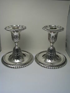 A Pair Of Solid Sterling Silver Candlesticks Candle Holders By Gorham 1887 Rare
