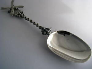 Dutch Silver Spoon Serving Spoon Souvenir Windmill 833s Holland Netherlands 1902