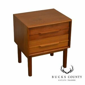 Danish Modern Teak 2 Drawer Nightstand